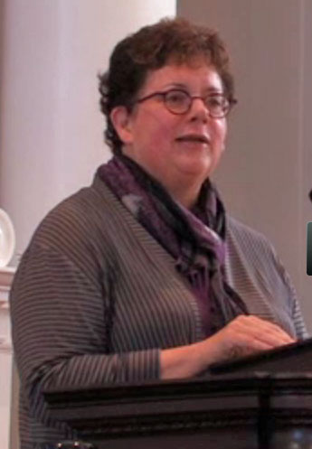 Amherst College President Biddy Martin in Q&A session. (Click image for video of the Martin's remarks and Q&A session. The Yamins-Martin exchange is from 25:00  to 32:00.