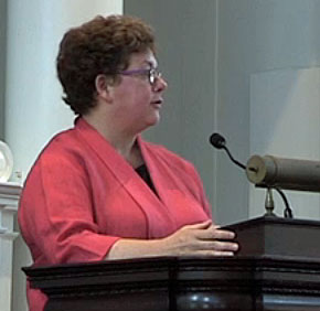Amherst College President Biddy Martin addresses alumni on May 31, 2014. (Click image for video)